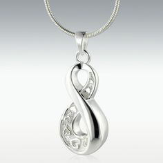 Infinity Love Sterling Silver Cremation Jewelry - Engravable