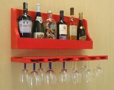 Porta Taças e Prateleira Adega Decorativa para Vinhos Garrafas Bares - Vermelho Laca