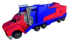Transformers - Camion Optimus Primecon rampa de 16cm , colores rojo y azul