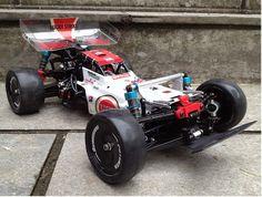 Tamiya Hotshot modified for indoor racing on high grip carpet.
