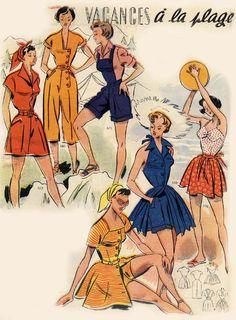 1950 : vacances à la plage et à la campagne