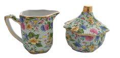 Chintz Pattern Creamer and Sugar Bowl Set