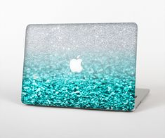 The Aqua Blue & Silver Glimmer Fade Skin Set for the Apple MacBook Air 13""
