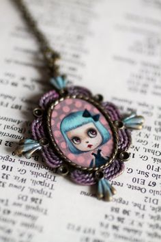 Blue Blythe Love  original cameo necklace by Mab by mabgraves, $135.00