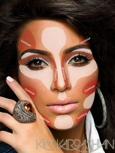 Kim Kardashian's Makeup Contouring Tricks- not that I would ever wear this much make up. But good tips