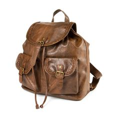 Faux Leather Backpack with Braided Trim