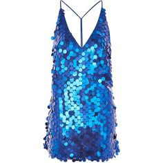 Finn Sequin Slip Mini Dress by Motel (215 BRL) ❤ liked on Polyvore featuring dresses, blue, short sequin cocktail dresses, blue dress, mini dress, short dresses and blue sleeveless dress