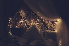 fairy lights on cast iron bed (MY BED!!!!!!! I HAVE THIS BED!!!!!!!!)
