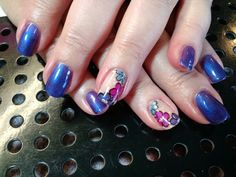 Purple floral nail art by Heather Jenkins