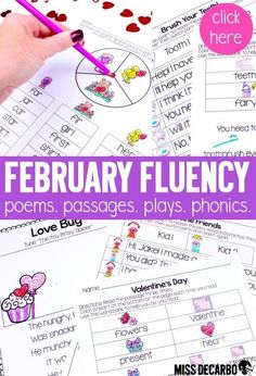 "Fluency practice should be fun! This February themed pack contains 20 fluency activities for your beginning readers. Take back your planning time with ""just print,"" ink-friendly pages to promote reading fluency, comprehension, and reading engagement. Fluency Activities, Phonics Games, Word Work Activities, Reading Activities, Winter Activities, Reading Lesson Plans, Reading Lessons, Reading Fluency, Reading Passages"