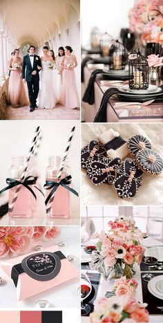 glamorous pink and black wedding color ideas