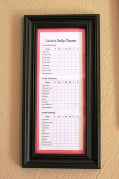 chore chart behind glass with dry erase marker is great idea