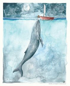Heart of the Sea  5x7 watercolor print  Whale ocean by IrishShells, $17.00 Love this...wish it were a boy leaning over the boat