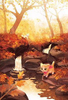 Environment Concept Art, Art And Illustration, Illustrations, Environmental Art, Whimsical Art, Art Sketchbook, Pretty Pictures, Cute Drawings, Cat Art