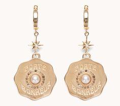 "Marlo Laz Fine Jewelry   14k Gold and Pearl Coin Earrings ""Porte Bonheur"""