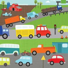 Oopsy Daisy's Move Me By Land Traffic Canvas Wall Art, 14x14
