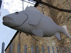Paper Fish near Trinity Buoy Wharf by JulesFoto, via Flickr.
