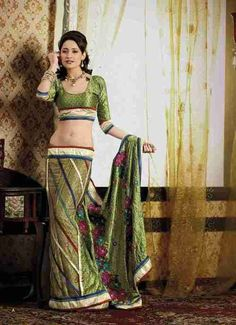 Chunni Olive Green Faux Crepe Luxury Party Wear Sari saree