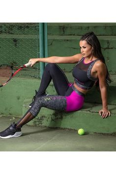 """You don't need to """"Be Brave"""" to wear these Workout Tights. Hot Pink striping down front of both legs White detailing around hot pink and mesh details."""