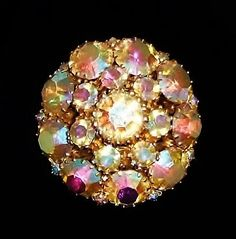 1354~Vintage Bling Goldtone AB Aurora Borealis Clear Rhinestone Dome Brooch Pin*