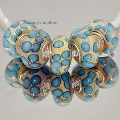 1 glass blue polka dots European charm bead - spots white lampwork leopard print