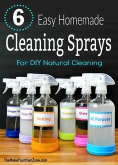 These six easy homemade cleaners save money and are a great way to get started with natural cleaning. Includes free printable labels for each DIY cleaning spray recipe too! All Natural Cleaning Products, Natural Cleaning Recipes, Diy Cleaning Products, Natural Cleaning Solutions, Cleaning Spray, Household Cleaning Tips, Cleaning Checklist, Household Cleaners, Cleaning Hacks