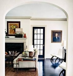 Black doors...love them...also i like the slim black line on the crown molding