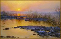 Sun Set - Pictify - your social art network Watercolor Landscape, Abstract Landscape, Seascape Paintings, Landscape Paintings, Pinturas Color Pastel, Sky Painting, Fantasy Paintings, Pastel Art, Landscape Photography