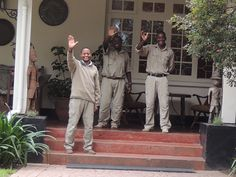 Waving good-bye to our friends at Legendary Lodge, Arusha