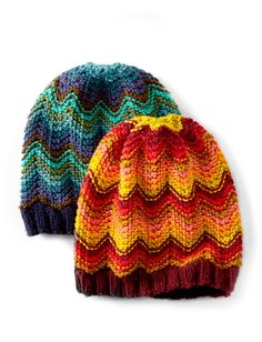 Make Waves Hat | Make waves (or a splash of color!) in this cozy self-striping hat. Knit in Bernat Super Value and Super Value Stripes for an easy striping effect. This pattern is for intermediate knitters.