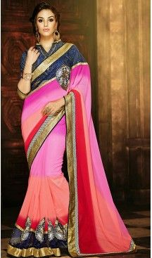 Georgette Fabric Rose Pink Color Traditional Style Sarees with Blouse…