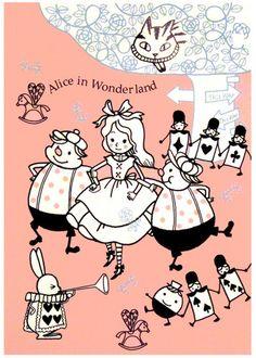 Shinzi Katoh Alice in Wonderland Kawaii Zakka Postcard Lewis Carroll, Pin Up, Were All Mad Here, Adventures In Wonderland, Through The Looking Glass, Fairy Tales, Illustration Art, Sketches, Animation