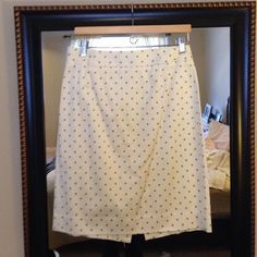 JCrew Pencil Skirt Never Worn! Excellent Condition. Cream and light green polka dot. Zips in the back. Size 8. J. Crew Skirts Pencil