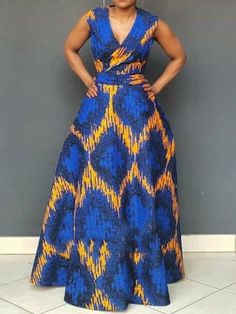 African Fashion, V-Neck Print Sleeveless Pullover Women's Maxi Dress African Maxi Dresses, Latest African Fashion Dresses, African Dresses For Women, African Print Fashion, African Attire, Fashion Prints, Ankara Maxi Dress, Africa Fashion, Latest Fashion