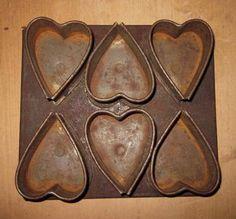 Unusual Early Handmade Heart Shaped Muffin Tin...