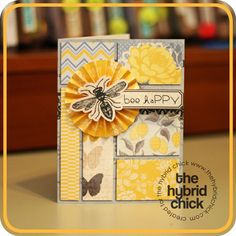 """bee happy"" card - get a free template for this card on The Hybrid Chick blog: http://www.thehybridchick.com/2012/05/may-card-template-challenge/"