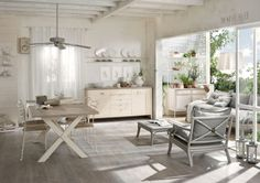 Cucina in stile country chic con isola, finitura Grigio Argilla ...