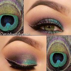 Eye makeup inspired by peacock feathers #makeup #beauty #colorful #eyeshadow