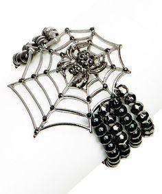 This Jet & Silvertone Spider Web Bracelet is perfect! #zulilyfinds
