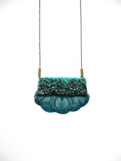Hand embroidered Velvet Peacock Feather Necklace / by jujujust