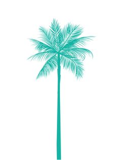 Turquoise Palm Tree Print, Teal Palm Tree, Green Blue Palm Tree Wall Art, Printable Art, Summer Art, California Print, Turquoise, Teal, Aqua