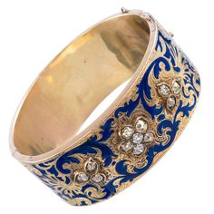 Fine Diamond and Enamel Cuff Bracelet | From a unique collection of vintage cuff bracelets at http://www.1stdibs.com/jewelry/bracelets/cuff-bracelets/