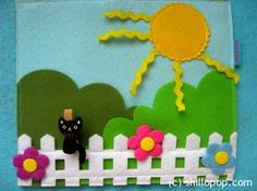 cute cat on a fence for a quiet book