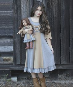Look at this Lilli Lovebird Gray & Mustard Stripes Sarah Dress & Doll Dress on #zulily today!
