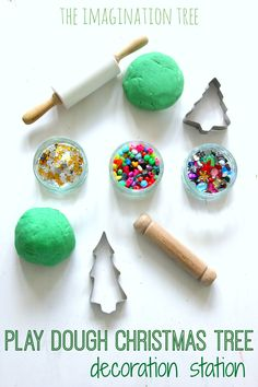 Invitation to Decorate Play Dough Christmas Trees - The Imagination Tree Play dough christmas tree decoration station christmas craft activity! Christmas Activities For Kids, Preschool Christmas, Diy Christmas Tree, Christmas Themes, Winter Christmas, Christmas Tree Decorations, Holiday Crafts, Holiday Fun, Advent Activities