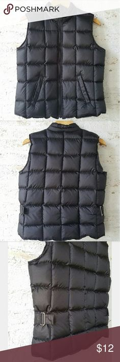 Merona Black Down Puffer Vest Real down & feather fill Adjustable Side buckles Very good condition Merona Jackets & Coats Vests
