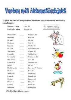 Übungssätze zum Thema Verben mit Akk. - DaF Arbeitsblätter