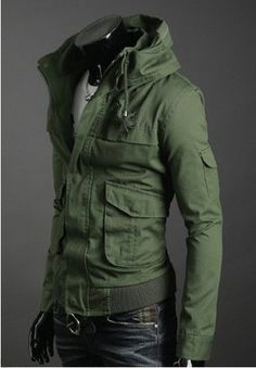 2011 NEW Men's Korean Vintage Stand Collar Fashion Casual Cool Jacket Green 2972 in Clothing, Shoes & Accessories, Men's Clothing, Coats & Jackets Korean Fashion, Mens Fashion, Fashion Trends, Green Jacket, Men Looks, Look Cool, Swagg, What To Wear, Men Casual