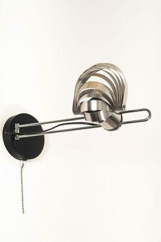 R Nele; Chromed Metal 'Visor' Wall Light for Temde Leuchten, Art Deco, Incandescent Light Bulb, Metal Pins, Light Fixtures, 1960s, Wall Lights, Chrome, Mid Century, Chandelier