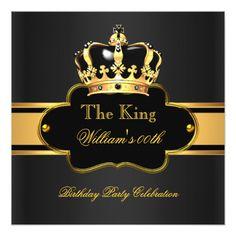 King Queen Royal Black Gold Birthday Men or Women Card